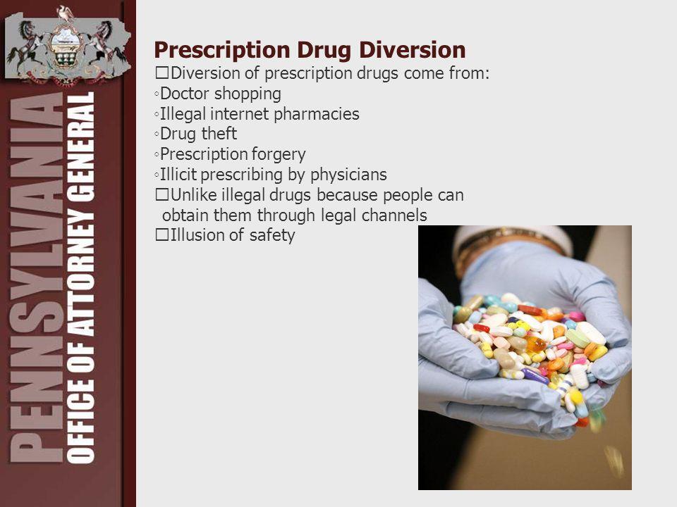 Prescription Drug Diversion Diversion of prescription drugs come from: ◦Doctor shopping ◦Illegal internet pharmacies ◦Drug theft ◦Prescription forgery