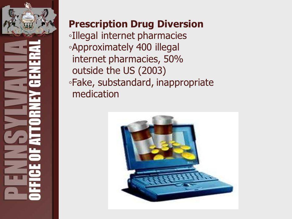 Prescription Drug Diversion ◦Illegal internet pharmacies ◦Approximately 400 illegal internet pharmacies, 50% outside the US (2003) ◦Fake, substandard,