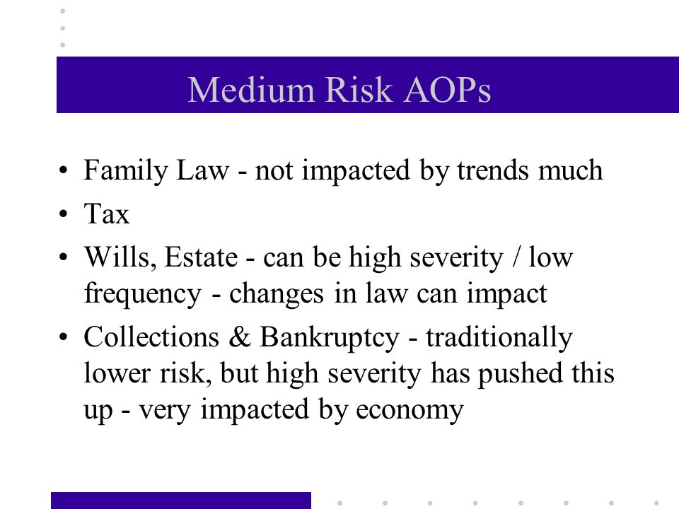 Medium Risk AOPs Family Law - not impacted by trends much Tax Wills, Estate - can be high severity / low frequency - changes in law can impact Collections & Bankruptcy - traditionally lower risk, but high severity has pushed this up - very impacted by economy