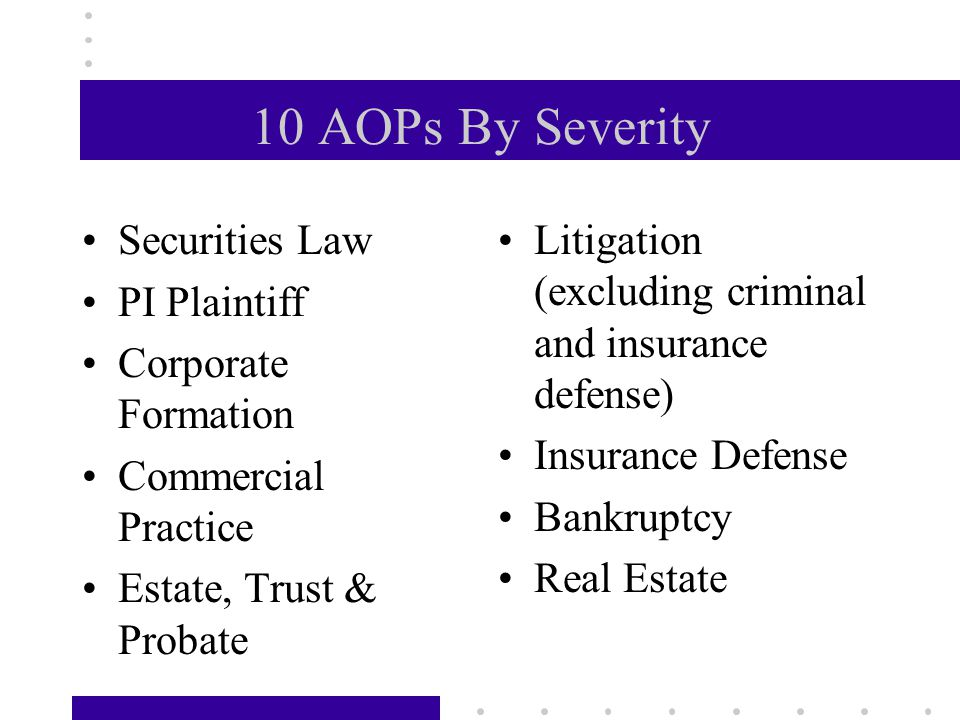 10 AOPs By Severity Securities Law PI Plaintiff Corporate Formation Commercial Practice Estate, Trust & Probate Litigation (excluding criminal and insurance defense) Insurance Defense Bankruptcy Real Estate