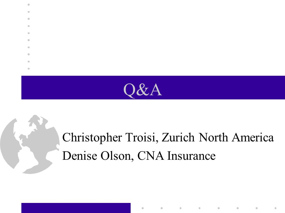 Q&A Christopher Troisi, Zurich North America Denise Olson, CNA Insurance CARE September 19, 2002