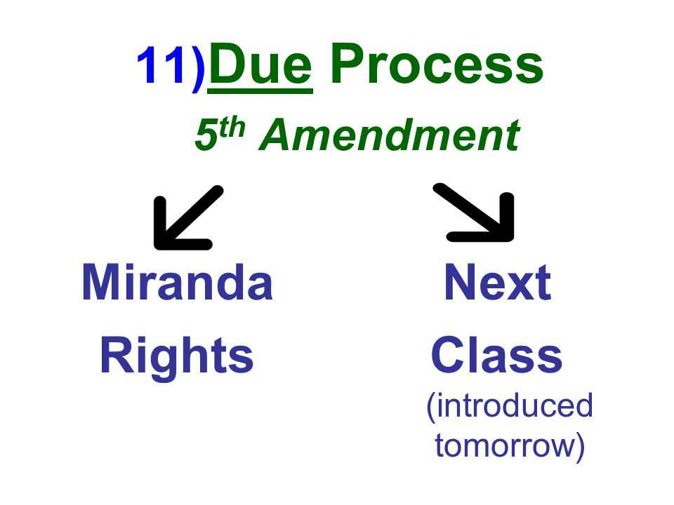 11) Due Process 5 th Amendment Miranda Rights Next Class (introduced tomorrow)