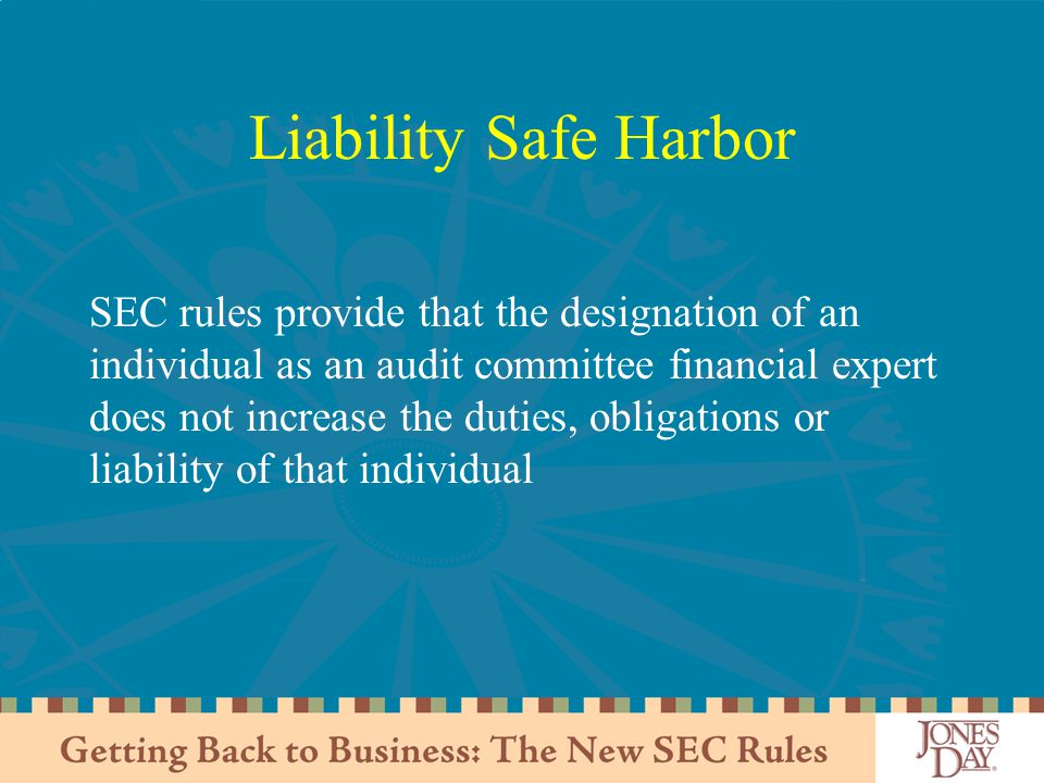 Liability Safe Harbor SEC rules provide that the designation of an individual as an audit committee financial expert does not increase the duties, obligations or liability of that individual