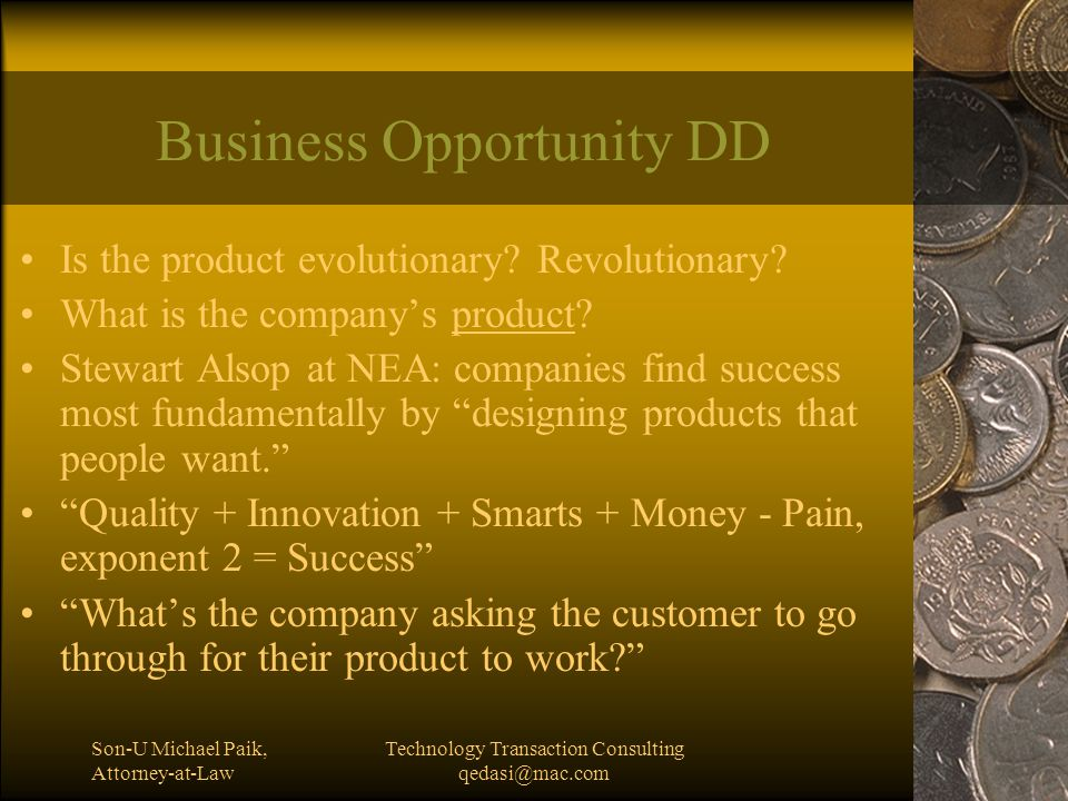 Son-U Michael Paik, Attorney-at-Law Technology Transaction Consulting qedasi@mac.com Does the Biz Model Work?