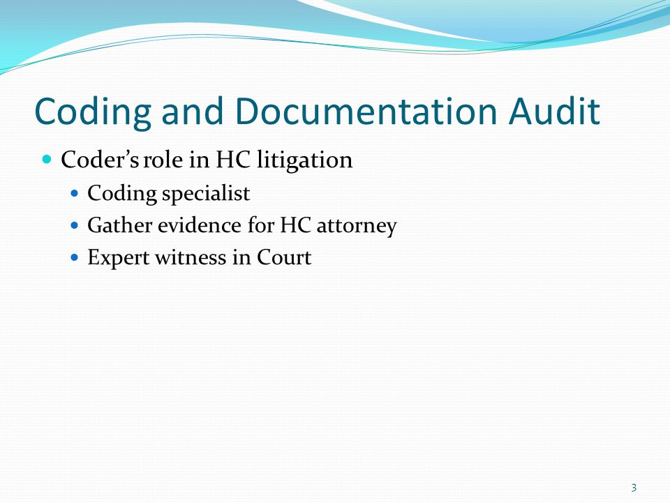 4 Coding and Documentation Audit Case Study #1 Situation Medicare sends an audit letter to the practice No indication of the reason for nonpayment Payment for all Medicare services stopped Practice retains HC legal counsel Legal counsel retains Amper