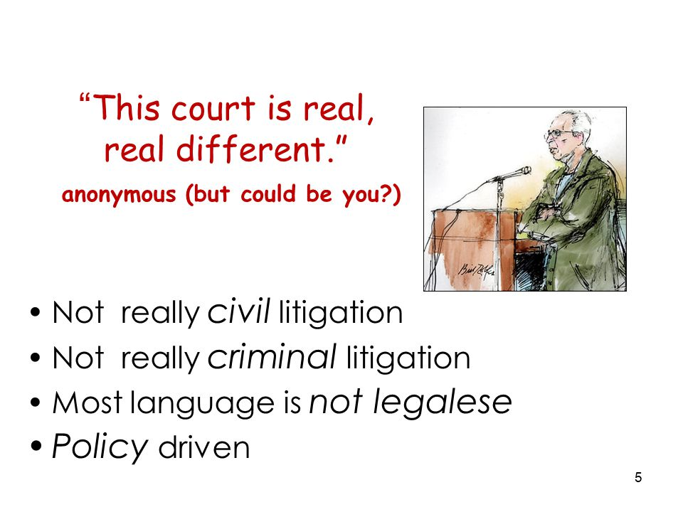 5 This court is real, real different. anonymous (but could be you ) Not really civil litigation Not really criminal litigation Most language is not legalese Policy driven