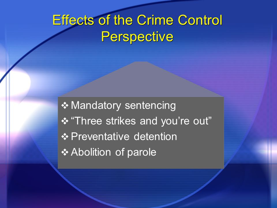 "Effects of the Crime Control Perspective  Mandatory sentencing  ""Three strikes and you're out""  Preventative detention  Abolition of parole  Mand"