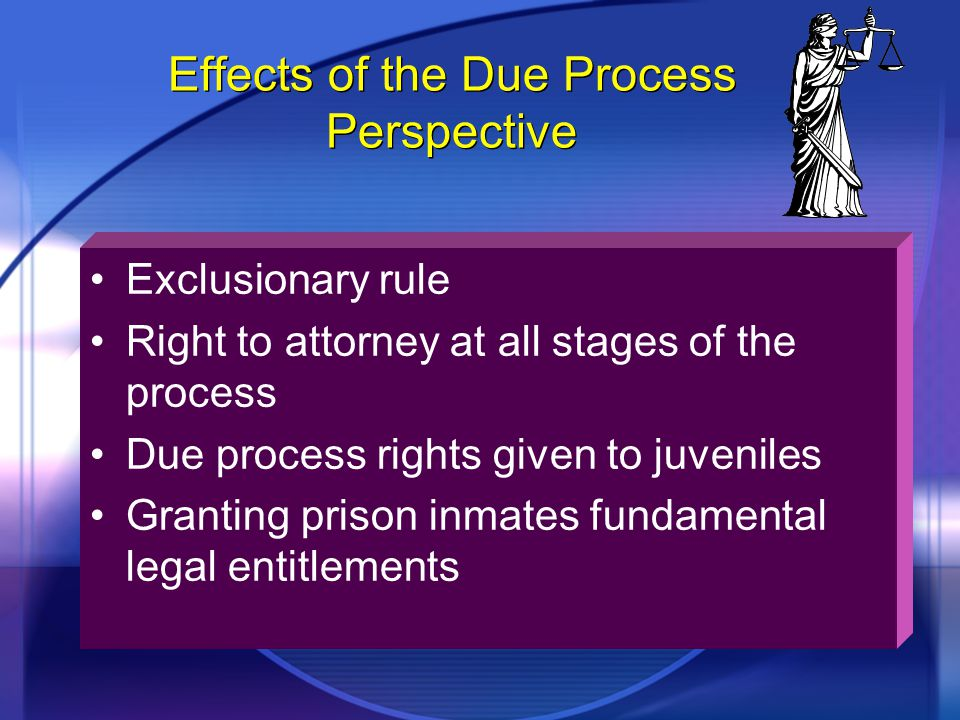 Effects of the Due Process Perspective Exclusionary rule Right to attorney at all stages of the process Due process rights given to juveniles Granting