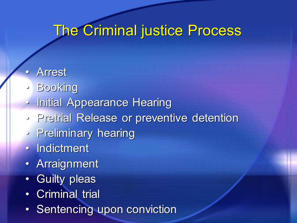 The Criminal justice Process Arrest Booking Initial Appearance Hearing Pretrial Release or preventive detention Preliminary hearing Indictment Arraignment Guilty pleas Criminal trial Sentencing upon conviction Arrest Booking Initial Appearance Hearing Pretrial Release or preventive detention Preliminary hearing Indictment Arraignment Guilty pleas Criminal trial Sentencing upon conviction
