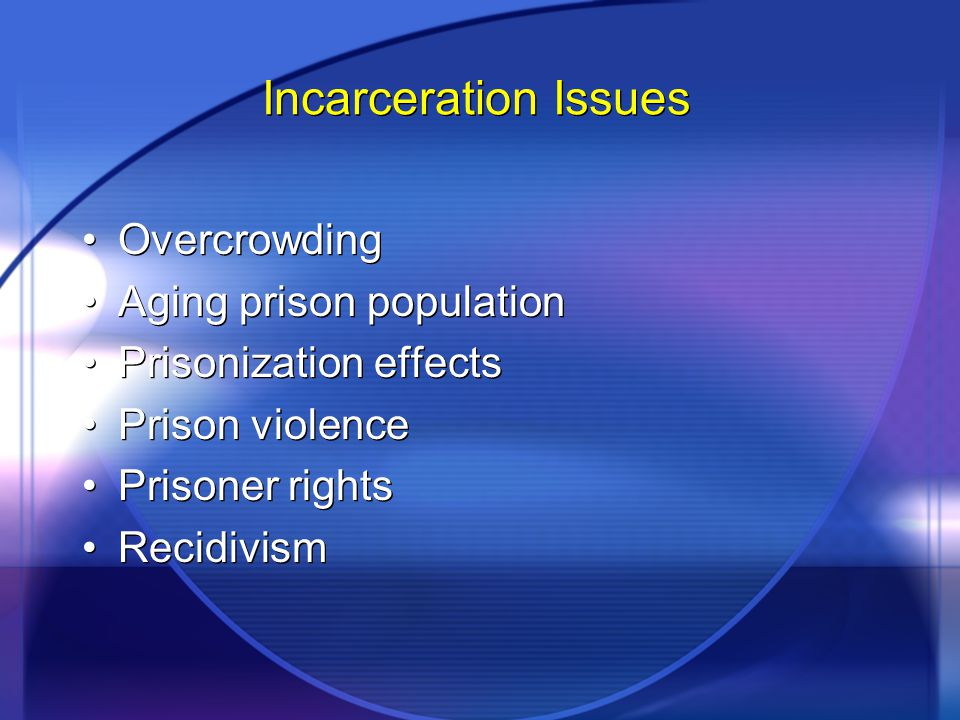 Incarceration Issues Overcrowding Aging prison population Prisonization effects Prison violence Prisoner rights Recidivism Overcrowding Aging prison p