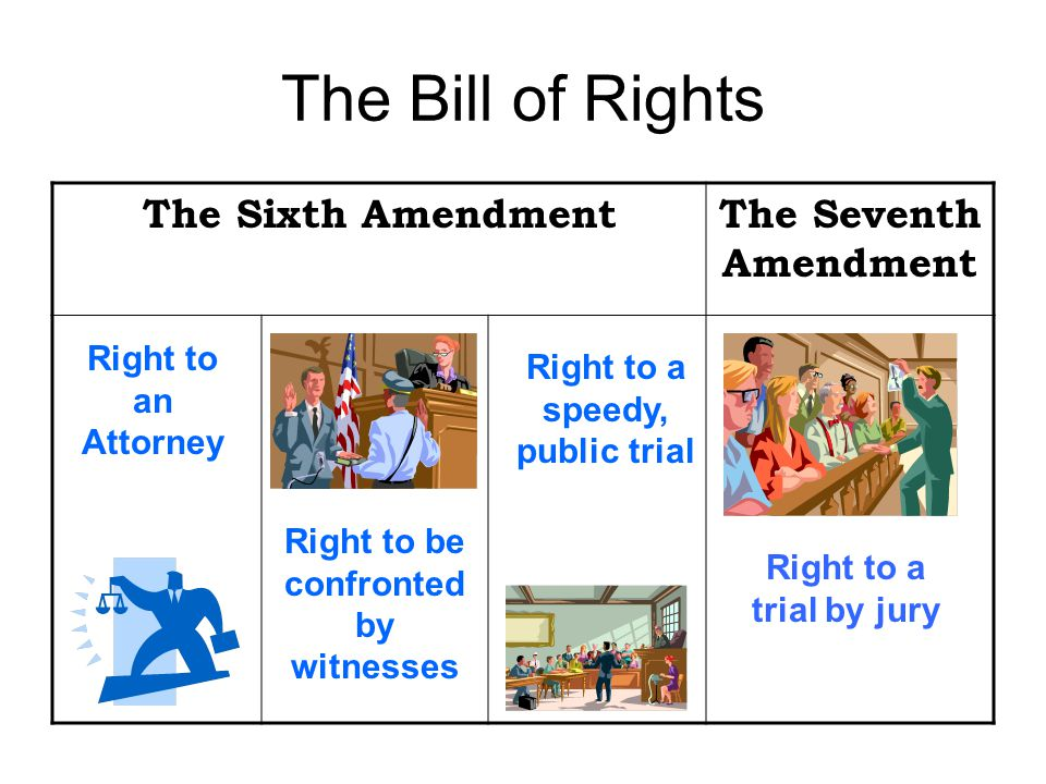 The Bill of Rights The Sixth AmendmentThe Seventh Amendment Right to an Attorney Right to be confronted by witnesses Right to a speedy, public trial Right to a trial by jury