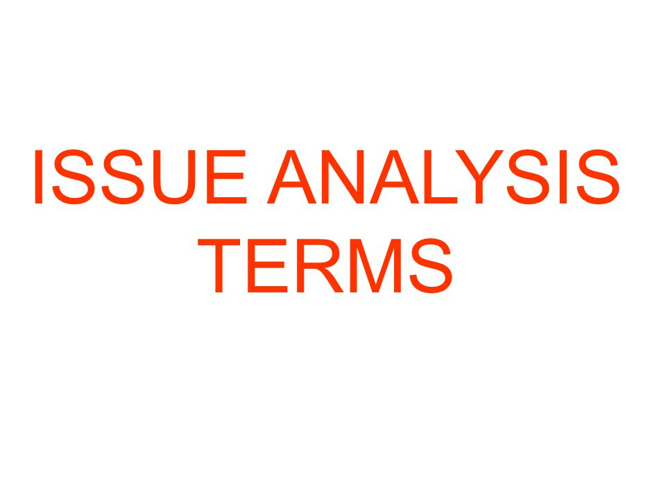 ISSUE ANALYSIS TERMS