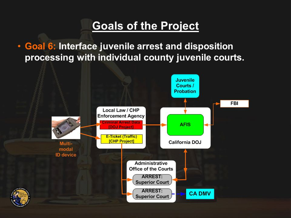 Goal 6: Interface juvenile arrest and disposition processing with individual county juvenile courts.