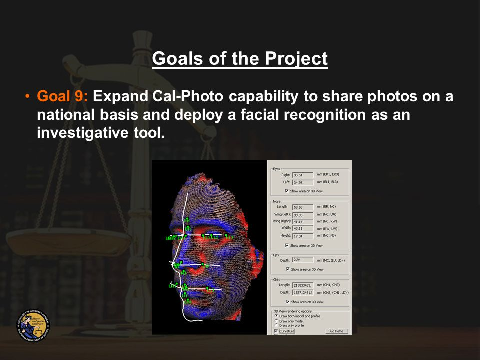 Goal 9: Expand Cal-Photo capability to share photos on a national basis and deploy a facial recognition as an investigative tool.