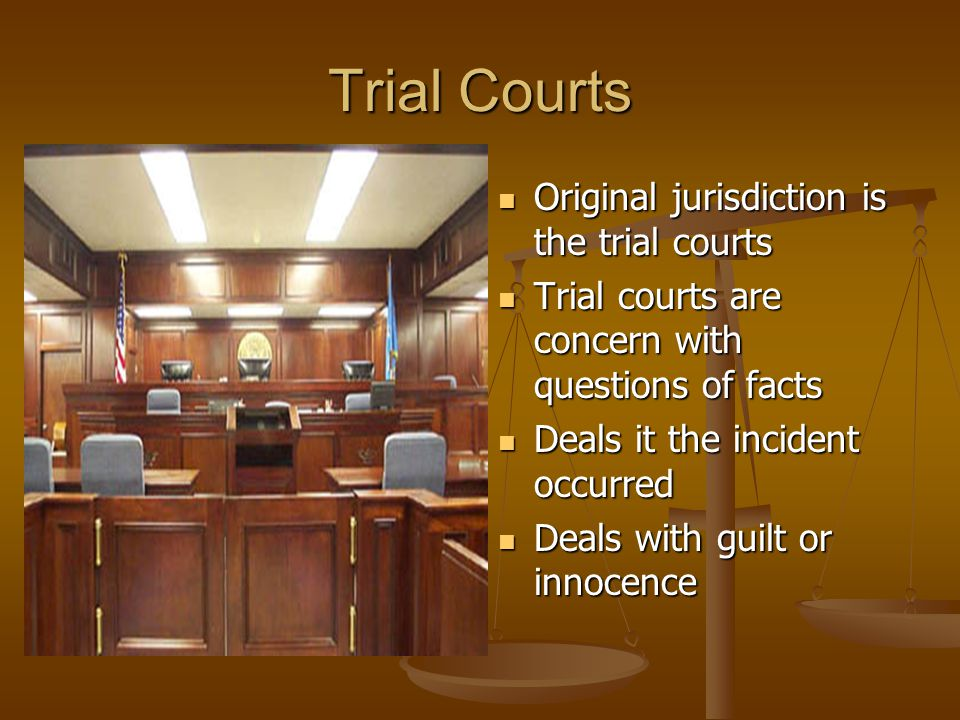 Trial Courts Original jurisdiction is the trial courts Trial courts are concern with questions of facts Deals it the incident occurred Deals with guilt or innocence