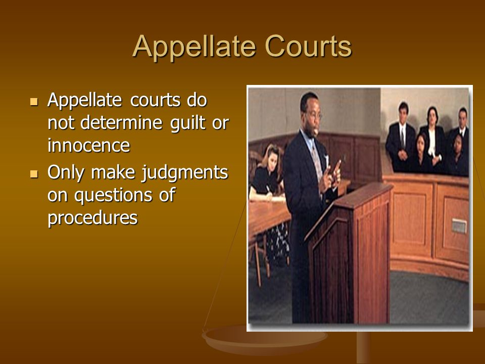 Appellate Courts Appellate courts do not determine guilt or innocence Appellate courts do not determine guilt or innocence Only make judgments on questions of procedures Only make judgments on questions of procedures