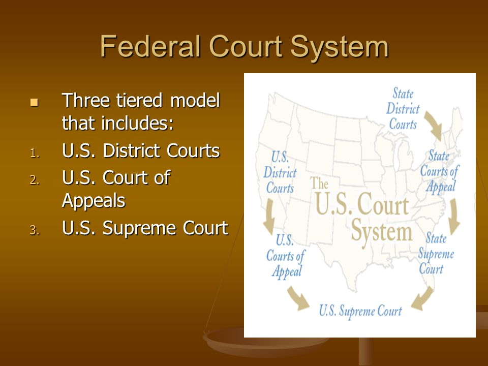 Federal Court System Three tiered model that includes: Three tiered model that includes: 1.