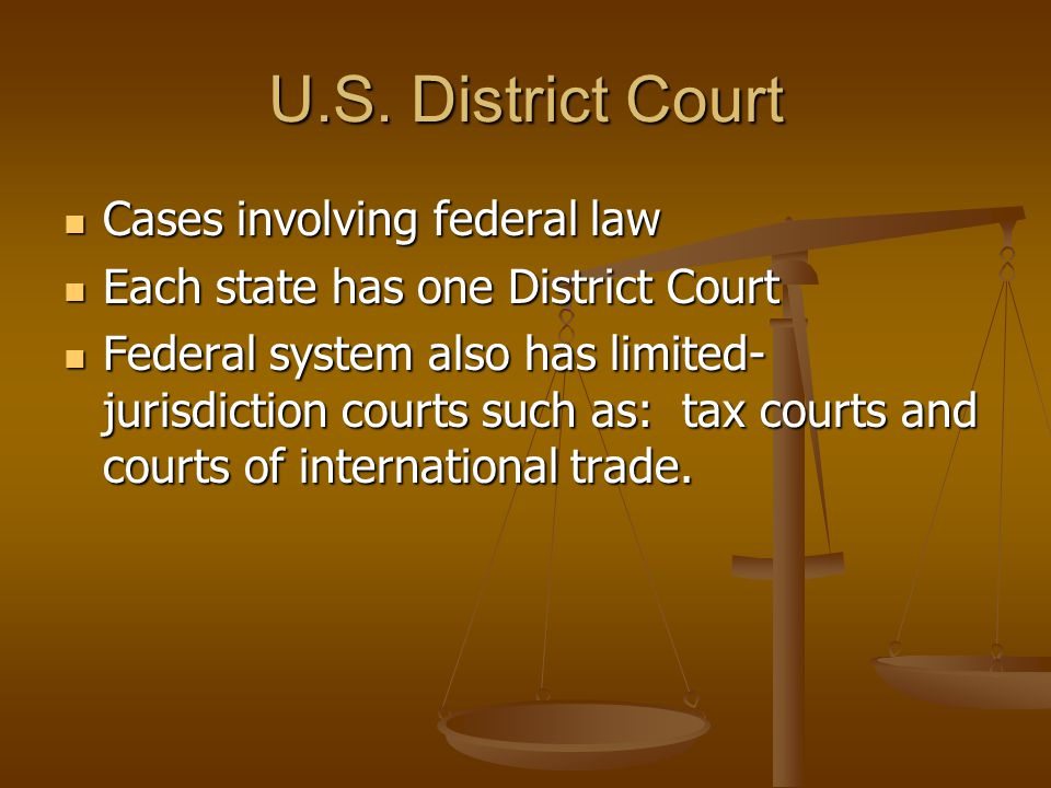 U.S. District Court Cases involving federal law Cases involving federal law Each state has one District Court Each state has one District Court Federa
