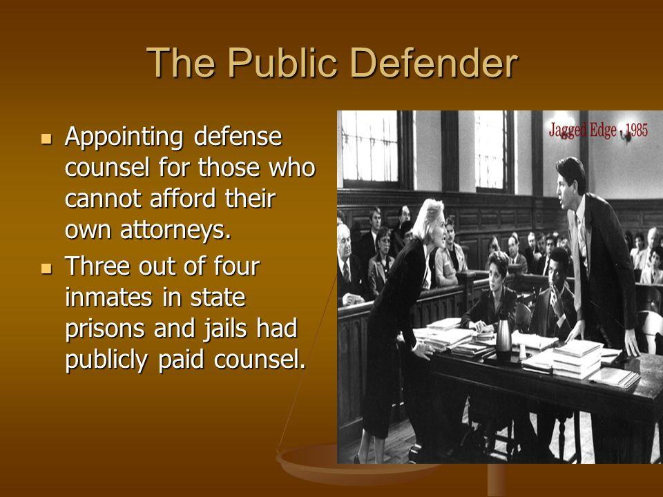 The Public Defender Appointing defense counsel for those who cannot afford their own attorneys.