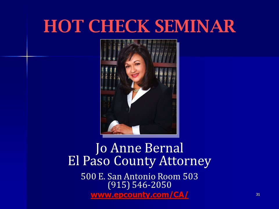 31 Jo Anne Bernal El Paso County Attorney 500 E.
