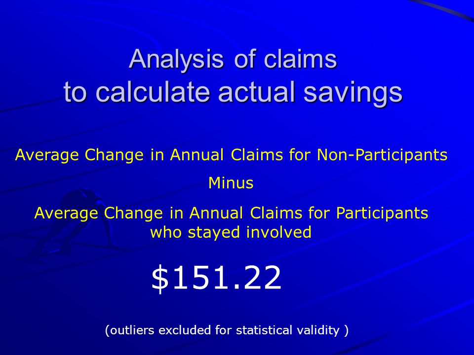 Analysis of claims to calculate actual savings Average Change in Annual Claims for Non-Participants Minus Average Change in Annual Claims for Participants who stayed involved $151.22 (outliers excluded for statistical validity )