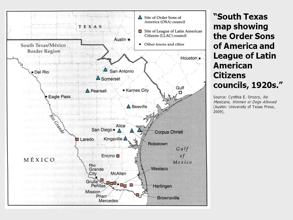 South Texas map showing the Order Sons of America and League of Latin American Citizens councils, 1920s. Source: Cynthia E.