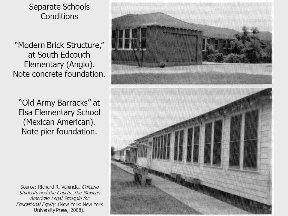 Separate Schools Conditions Modern Brick Structure, at South Edcouch Elementary (Anglo).