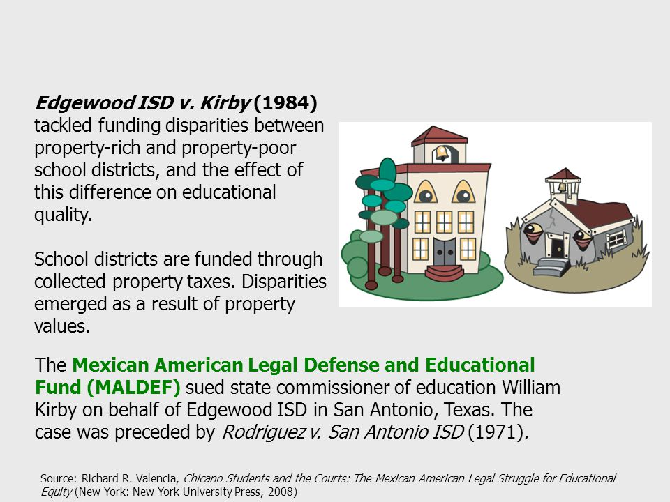 Edgewood ISD v. Kirby (1984) tackled funding disparities between property-rich and property-poor school districts, and the effect of this difference o