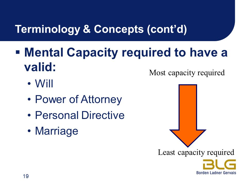 Terminology & Concepts (cont'd)  Mental Capacity required to have a valid: Will Power of Attorney Personal Directive Marriage 19 Most capacity requir