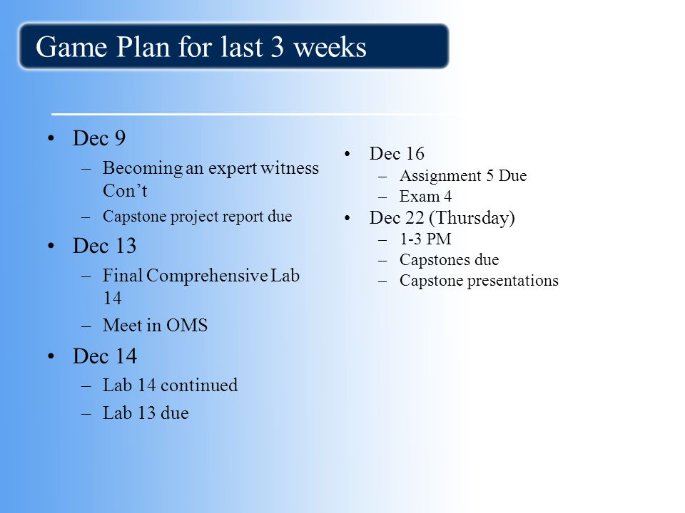 Game Plan for last 3 weeks Dec 9 –Becoming an expert witness Con't –Capstone project report due Dec 13 –Final Comprehensive Lab 14 –Meet in OMS Dec 14 –Lab 14 continued –Lab 13 due Dec 16 –Assignment 5 Due –Exam 4 Dec 22 (Thursday) –1-3 PM –Capstones due –Capstone presentations