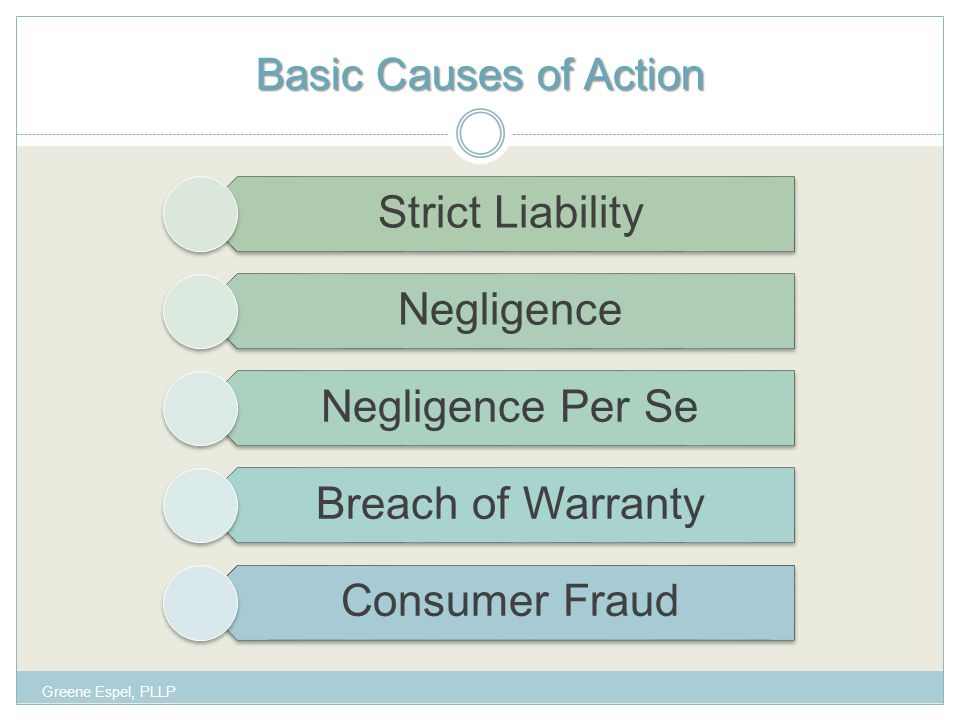 Basic Causes of Action Strict Liability Negligence Negligence Per Se Breach of Warranty Consumer Fraud Greene Espel, PLLP