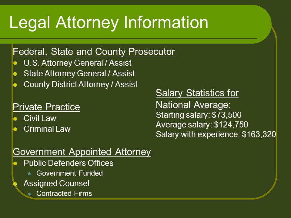 Legal Attorney Information Federal, State and County Prosecutor U.S.