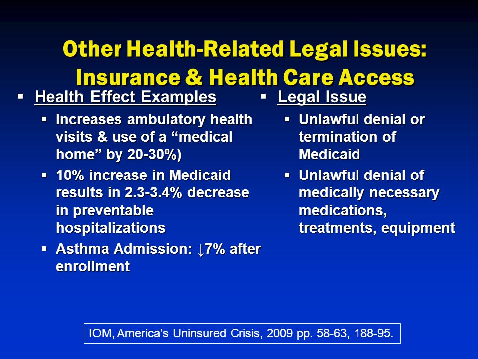 Other Health-Related Legal Issues: Insurance & Health Care Access  Health Effect Examples  Increases ambulatory health visits & use of a medical home by 20-30%)  10% increase in Medicaid results in 2.3-3.4% decrease in preventable hospitalizations  Asthma Admission: ↓7% after enrollment  Legal Issue  Unlawful denial or termination of Medicaid  Unlawful denial of medically necessary medications, treatments, equipment IOM, America's Uninsured Crisis, 2009 pp.