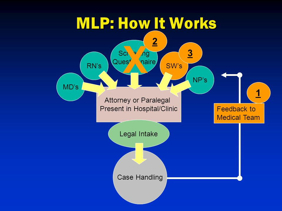 MD's RN'sSW's NP's Attorney or Paralegal Present in Hospital/Clinic Legal Intake Case Handling Feedback to Medical Team 1 Screening Questionnaire 2 X 3 MLP: How It Works