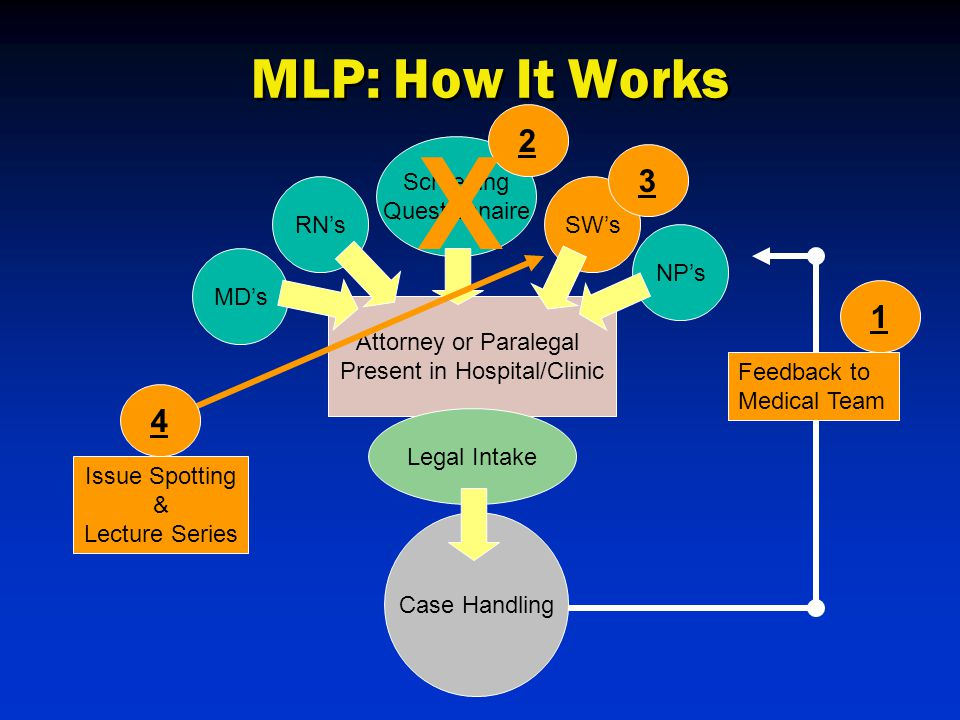 MD's RN'sSW's NP's Attorney or Paralegal Present in Hospital/Clinic Legal Intake Case Handling Feedback to Medical Team 1 Screening Questionnaire 2 X 3 4 Issue Spotting & Lecture Series MLP: How It Works