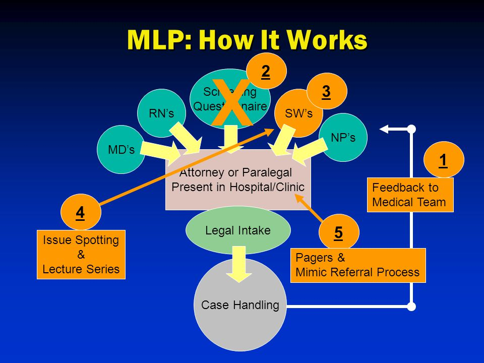 MD's RN'sSW's NP's Attorney or Paralegal Present in Hospital/Clinic Legal Intake Case Handling Feedback to Medical Team 1 Screening Questionnaire 2 X 3 4 Issue Spotting & Lecture Series 5 Pagers & Mimic Referral Process MLP: How It Works