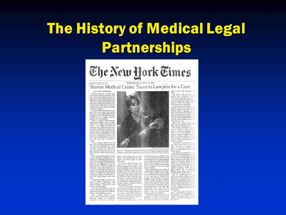 The History of Medical Legal Partnerships