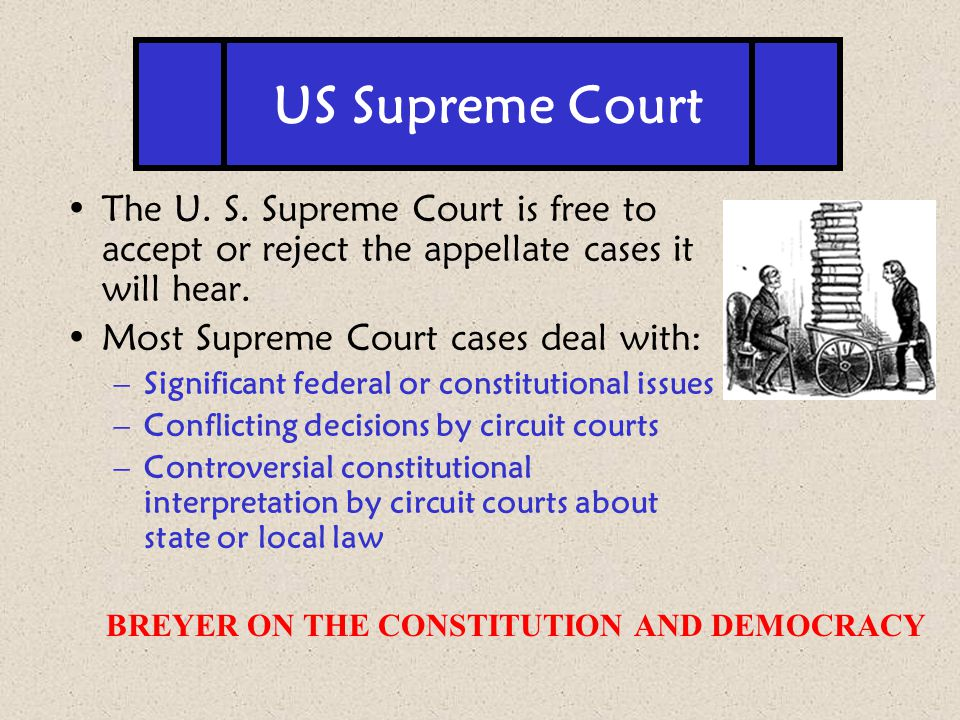 The U. S. Supreme Court is free to accept or reject the appellate cases it will hear. Most Supreme Court cases deal with: –Significant federal or cons