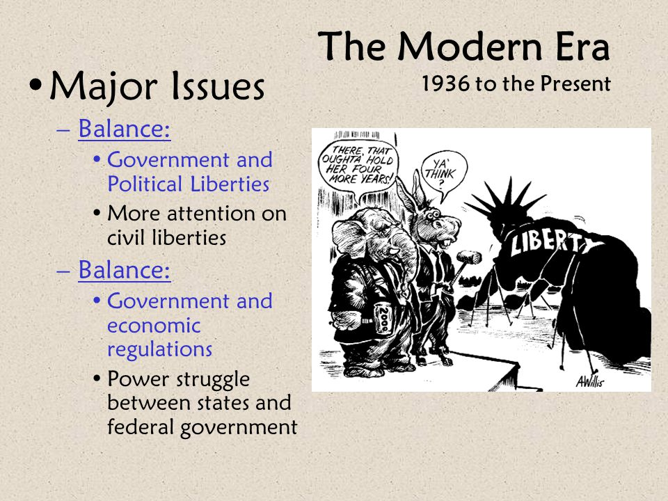 The Modern Era 1936 to the Present Major Issues –Balance: Government and Political Liberties More attention on civil liberties –Balance: Government an
