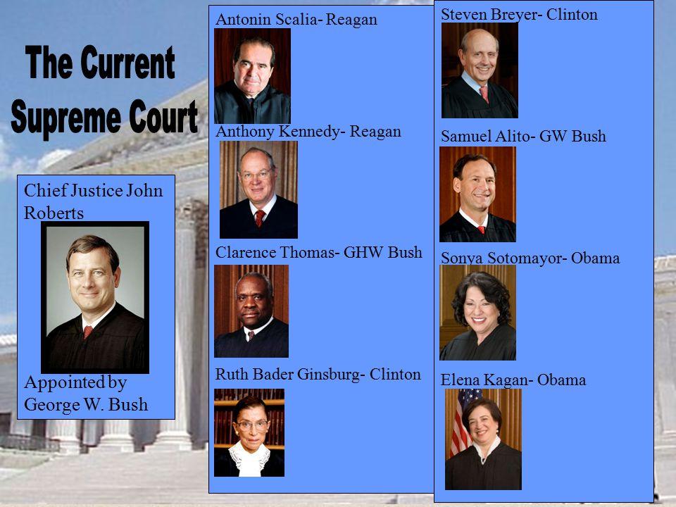 Antonin Scalia- Reagan Anthony Kennedy- Reagan Clarence Thomas- GHW Bush Ruth Bader Ginsburg- Clinton Steven Breyer- Clinton Samuel Alito- GW Bush Son