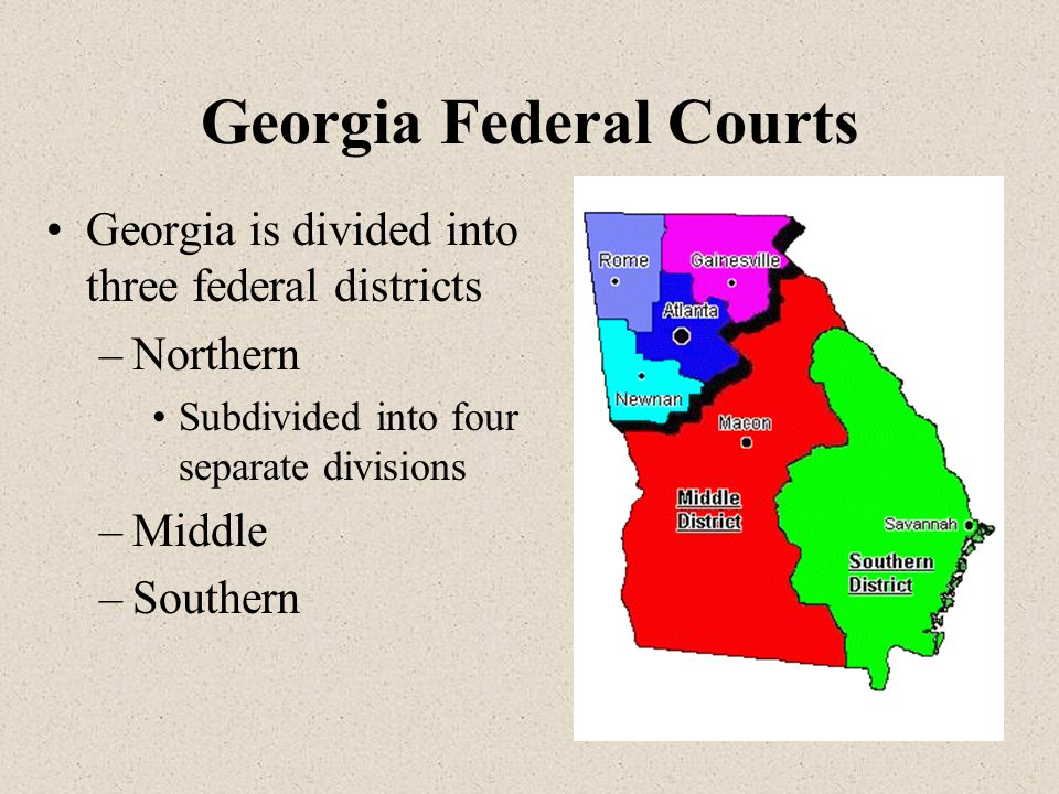 Georgia Federal Courts Georgia is divided into three federal districts –Northern Subdivided into four separate divisions –Middle –Southern
