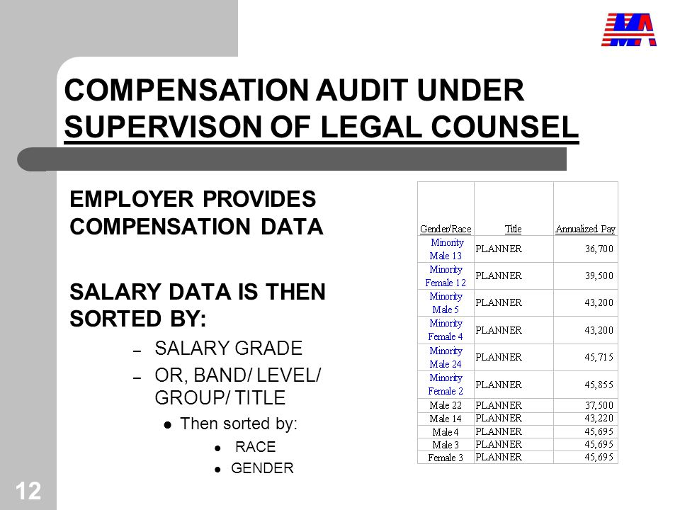 12 EMPLOYER PROVIDES COMPENSATION DATA SALARY DATA IS THEN SORTED BY: – SALARY GRADE – OR, BAND/ LEVEL/ GROUP/ TITLE Then sorted by: RACE GENDER COMPENSATION AUDIT UNDER SUPERVISON OF LEGAL COUNSEL
