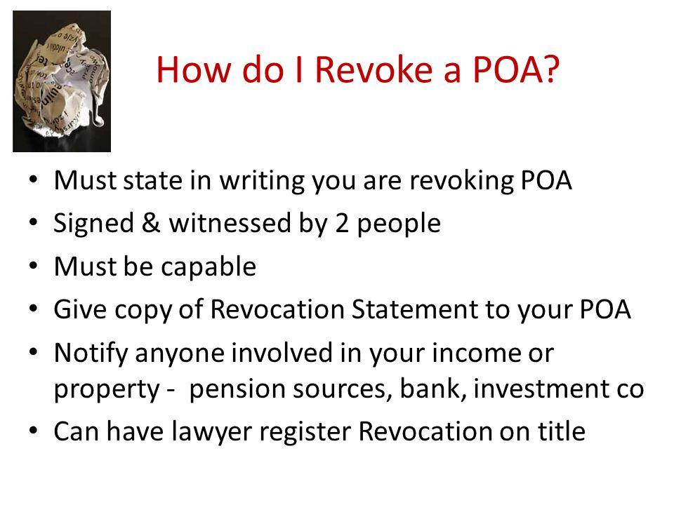 How do I Revoke a POA.