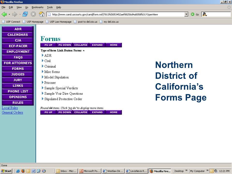 Northern District of California's Forms Page