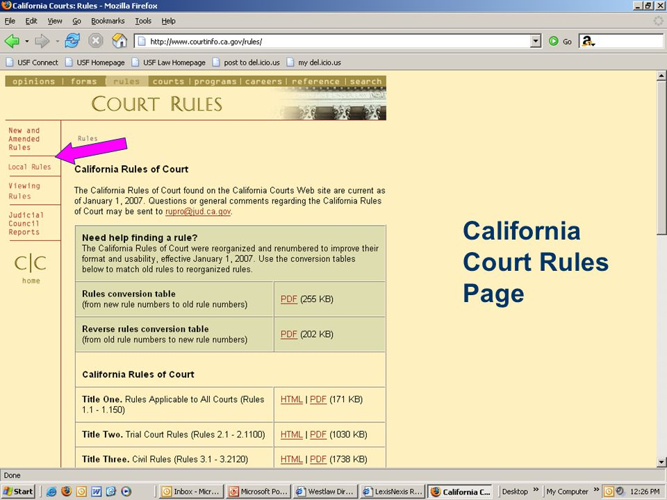 California Court Rules Page