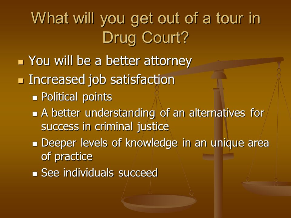 What will you get out of a tour in Drug Court.