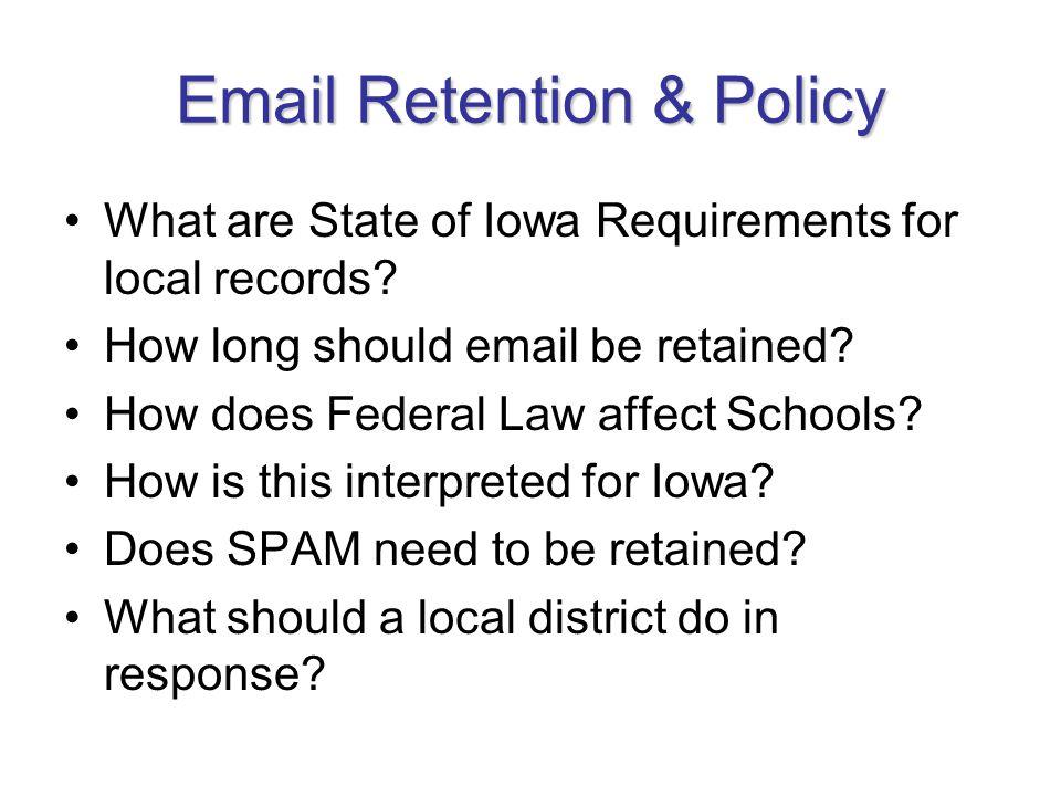 Iowa Open Records Law E-Mails and Open Records Law Iowa Code chapter 22 is Iowa s Open Records law.