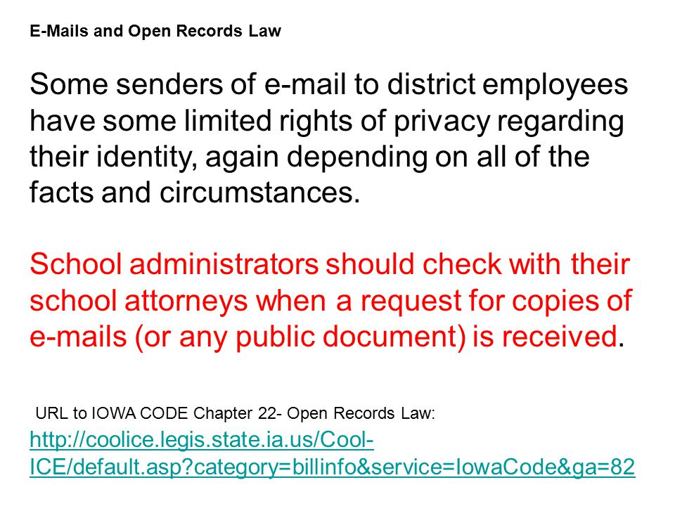 Email Retention From: Greta, Carol [ED] To: Jaras, Vic [ED] Subject: RE: School Email Retention Question maintain ALL correspondence (regardless of medium) for a minimum of two years There is a new federal court rule that boils down to this: if a school district is ever involved in litigation in federal court, it cannot destroy any email that are pertinent to the case.