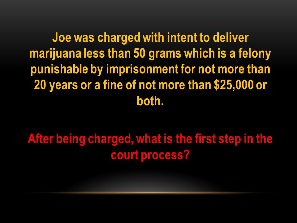 Joe was charged with intent to deliver marijuana less than 50 grams which is a felony punishable by imprisonment for not more than 20 years or a fine of not more than $25,000 or both.