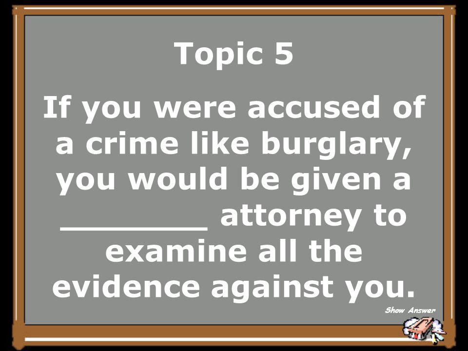Topic 4 Criminal Civil Back to Board